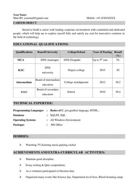 top resume format for freshers ece electronics and communications engineers resume sles