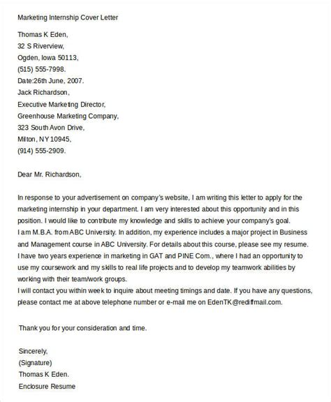 Cover Letter Exle Internship Marketing by Cover Letters For Internship 7 Free Word Pdf Documents Free Premium Templates