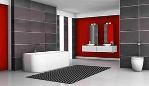 decoration salle de bain rouge et gris With salle de bains rouge