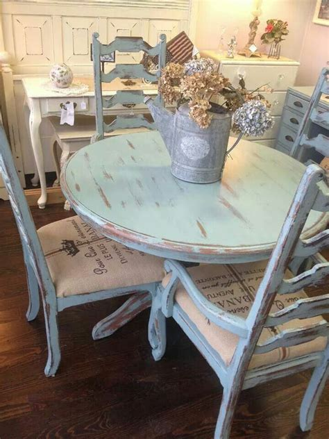 distressed pale blue shabby table  chairs forgotten
