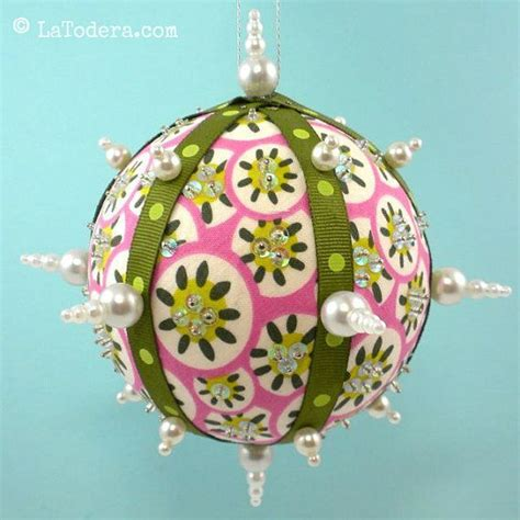 fabric christmas ornaments pattern tutorial bling balls