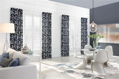 Kitchen Curtains And Valances Ideas - patterned curtains enhance look of these plantation shutters in dining area modern dining