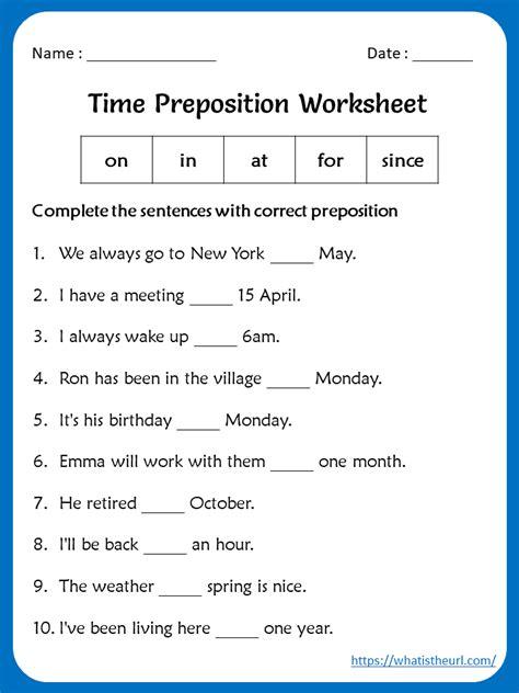 time preposition worksheet  grade   home teacher