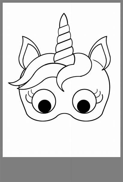 Unicorn Kleurplaat Eenhoorn Mask Printable Unicornio Vienaragis