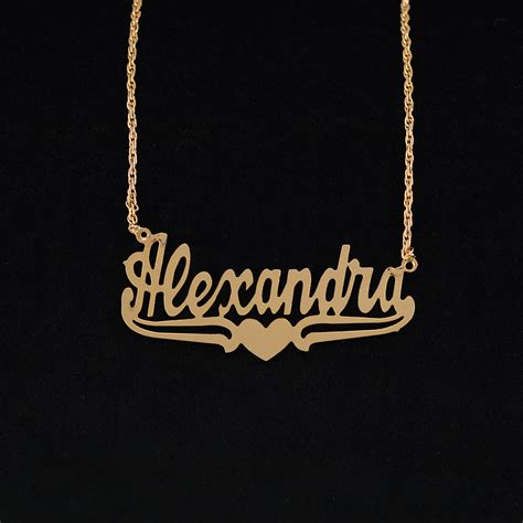 """Name Necklace W Lower Tails & Heart """"alexandra"""""""