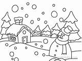 Coloring Snow Scene Winter Printable Worksheets Activities Students sketch template