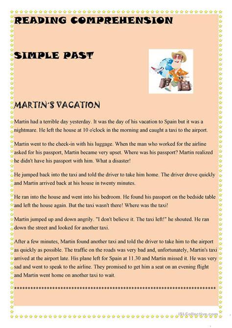 simple  reading comprehension worksheet  esl