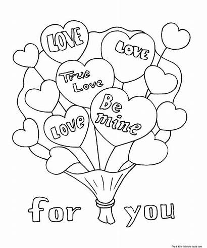 Coloring Bouquet Pages Flowers Valentines Printable Valentine
