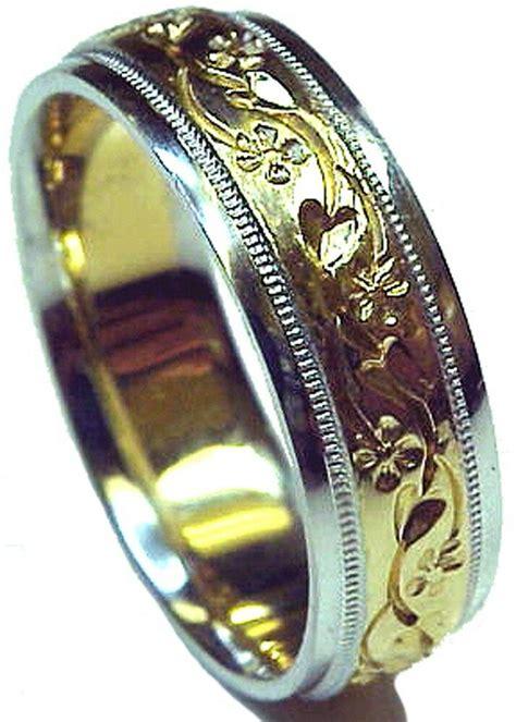 new engraved two tone gold men s wedding ring ebay