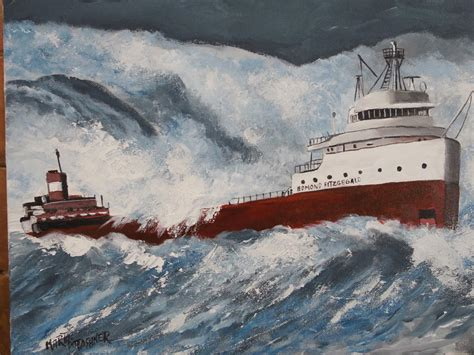 where did the edmund fitzgerald sank the sinking of edmund fitzgerald painting by martin potashner