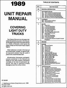 1989 Chevy Ck Pickup Shop Manual Chevrolet Truck Cheyenne Scottsdale Silverado