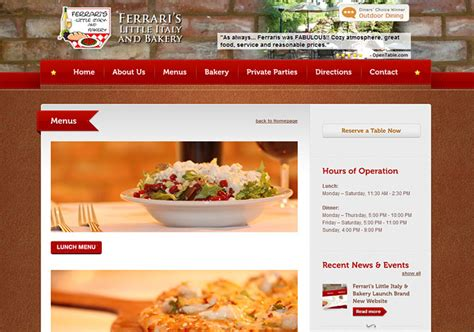 cuisine site s restaurant radiant web design