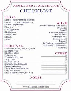 domesticability name change checklist printable With documents i need to get married