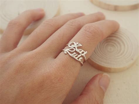 letter sterling silver ring 40 stacking name ring custom name by caitlynminimalist