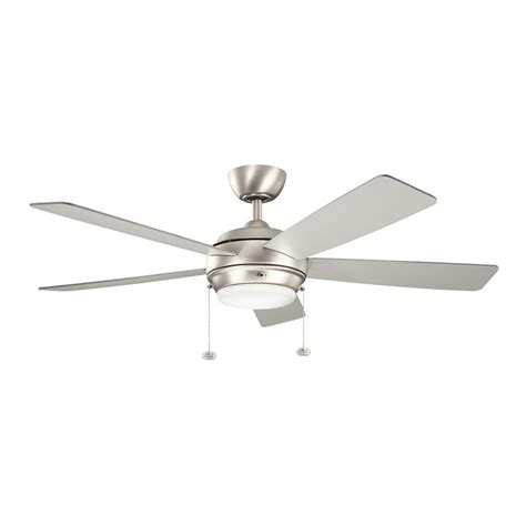 chrome ceiling fan with white shop kichler starkk 52 in brushed nickel indoor downrod