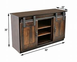 60quot maple sliding barn door tv stand dutch craft furniture for Barn door hardware for tv stand
