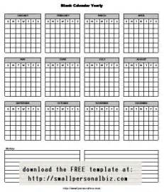 Blank Printable Yearly Calendar