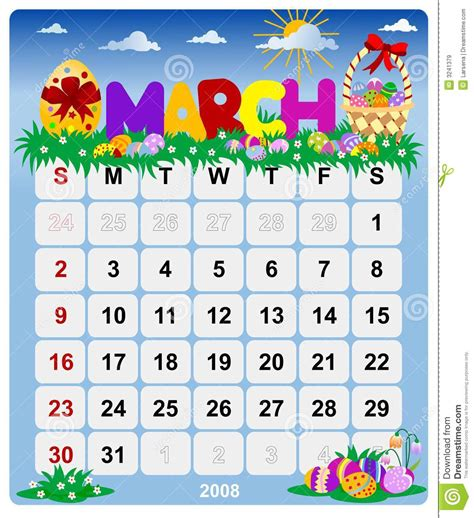 monthly calendar march  stock vector illustration