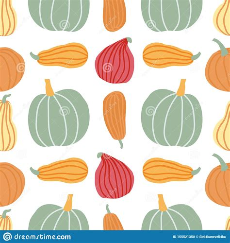 Hand Draw Pumpkin Seamless Pattern In Simple Doodle Style ...