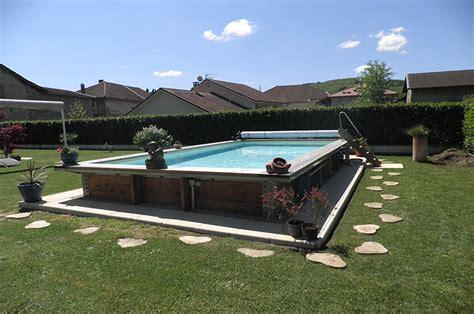 piscine hors sol acier enterree piscine hors sol ou semi enterr 233 e acier et bois 7m x 3 50m