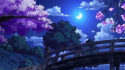 Anime Scenery Gifs Night Aesthetic Pretty Backgrounds