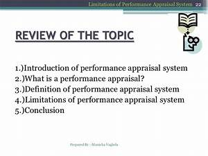 Limitations of performance appraisal system