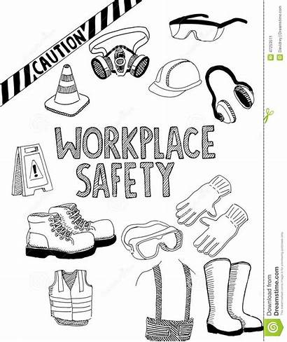 Safety Drawing Workplace Doodle Gear Shoes Cartoons