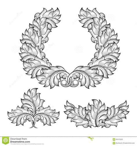 decorative flower and leaf designs vintage baroque floral leaf scroll ornament stock vector illustration of graphic motif 60475203