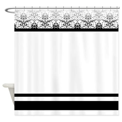 black and white damask shower curtain by stolenmomentsph