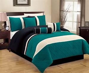 Comforter, Elegant, Comfort, 7, Piece, King, Teal, Ivory, Black