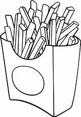 Fries French Coloring Pages Cartoon Illustration Box Vector sketch template