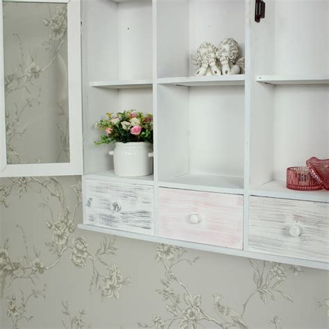 wall mounted grey wooden storage shelving cabinet shabby