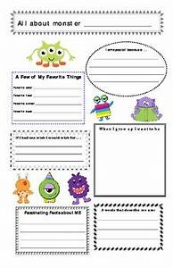School Application Template Monster Theme All About Me Profile Poster Back To School
