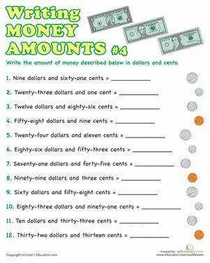 writing money amounts 4 worksheet education