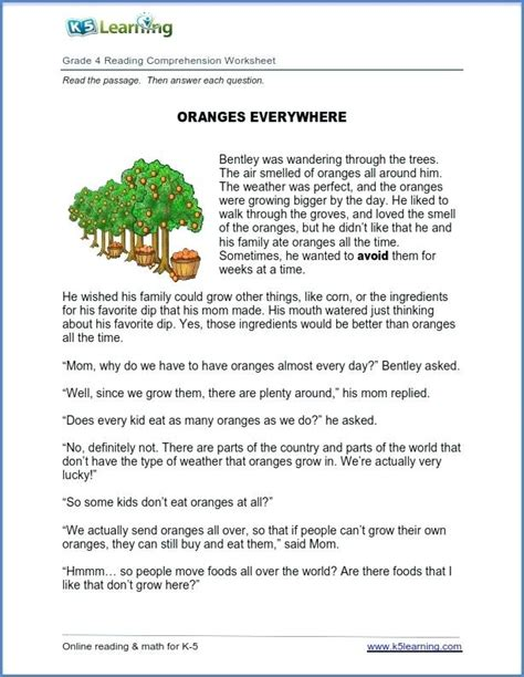 year 4 reading comprehension worksheets