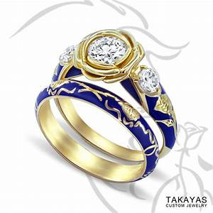 Beauty and the beast inspired bridal set takayas custom for Beauty and the beast inspired wedding rings