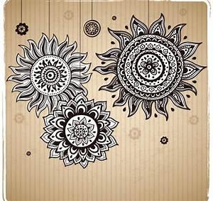 Vintage sunflower pattern background vector - Vector ...