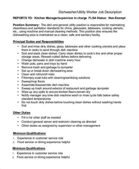 Dishwasher Resume Pdf by Server Description Utility Dishwasher Description Sle Dishwasher Description 8