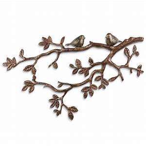 Metal wall art leaves branch : Spi lovebirds on branch wall decor