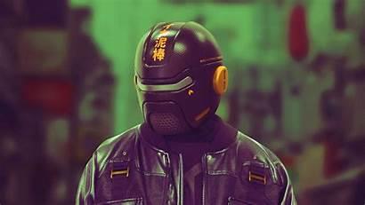 Cyberpunk Cyborg Helmet Mask 4k Uhd Background