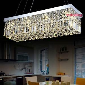 k9 led crystal chandelier rectangle led lamps modern With contemporary crystal dining room chandeliers
