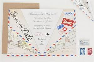 vintage airmail save the date paper airplane With hip wedding invitations template