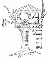 Coloring Treehouse Baumhaus Malvorlagen sketch template