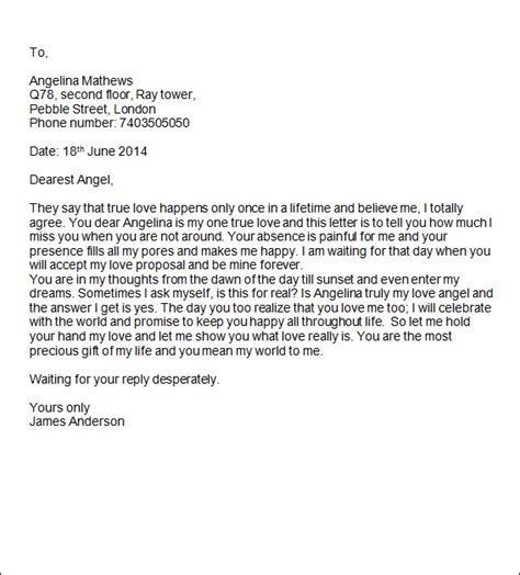 sample romantic letters   documents  word