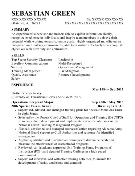 Army Sergeant Resume by Us Army Operations Sergeant Major Resume Sle Fuquay