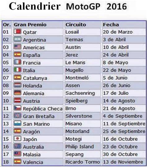 calendrier gp  calendrier calendrier du championnat