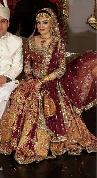 burgundy  gold bridalwear pakistani bridals