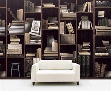 papier peint trompe l œil bibliothèque pour l 39 intérieur