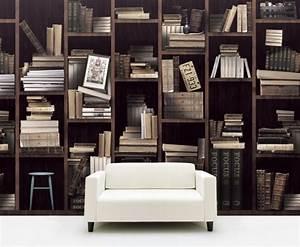 Papier Peint Trompe L Oeil Bois : papier peint trompe l il biblioth que pour l 39 int rieur ~ Premium-room.com Idées de Décoration