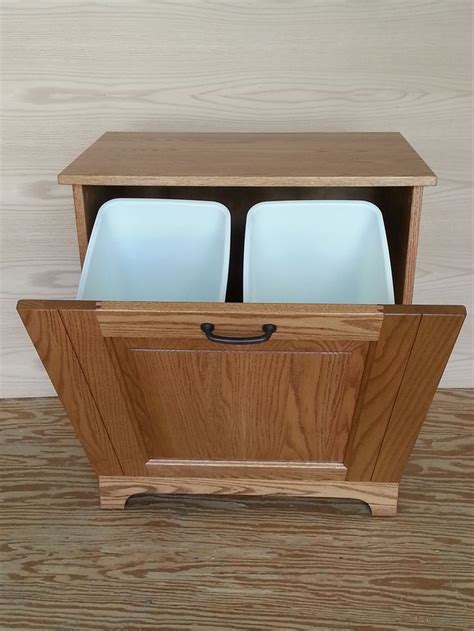 wooden tilt trash bin plans woodworking projects plans